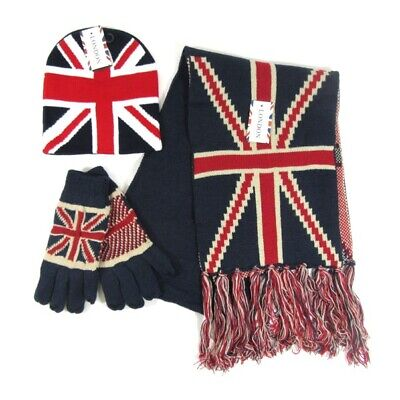 Adults Mens Father British Union Jack Winter Bobble Hat Scarf Gloves Dad Gifts • 3.99£