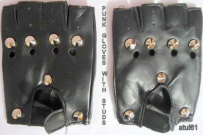 £3.49 • Buy Black Fingerless Studded Faux Leather Biker Punk Cycling Driving Gloves New