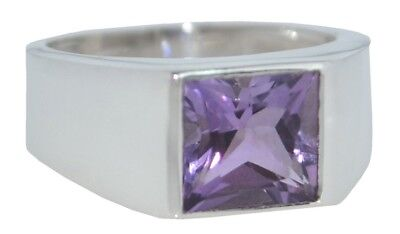 £39.99 • Buy Amethyst Signet Ring Genuine Stone Mens Gents Sterling 925 SILVER Sizes N To Z5