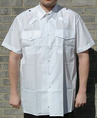 New Harrison Field Mens Short Sleeve White Shirt Uniform Pilot Security Prison • 9.95£