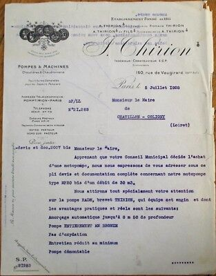 £9.34 • Buy Firefighting/Fireman 1928 French Fire Pump Letterhead, 'Pompes Thirion'