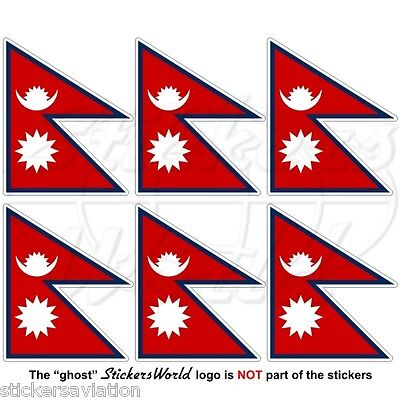 NEPAL Nepali Flag Nepalese 36mm (1,4 ) Mobile Cell Phone Mini Stickers Decals X6 • 3.21£