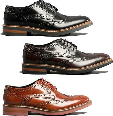£56 • Buy Base London WOBURN Mens Leather Brogue Lace-Up Formal Smart Office HiShine Shoes