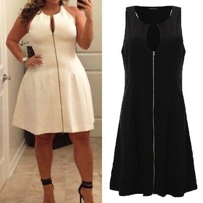 AU14.71 • Buy Women Summer Sleeveless Zip Up Evening Cocktail Fit Flare Plus Size Party Dress