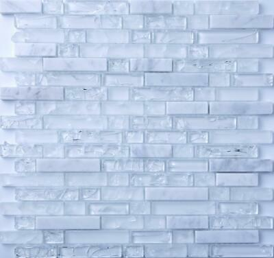 Clear & Frosted Glass White Stone Brick Mosaic Tiles Sheet 300x300x8mm (MT0153) • 7.96£