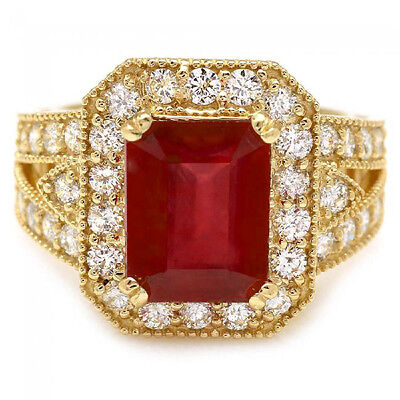$1830 • Buy 7.40 Carats Natural Red Ruby And Diamond 14K Solid Yellow Gold Ring