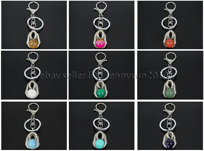 £5.74 • Buy Natural Gemstone Dragon Eagle Claw Round Ball Charm Beads Silver Plated Key Ring