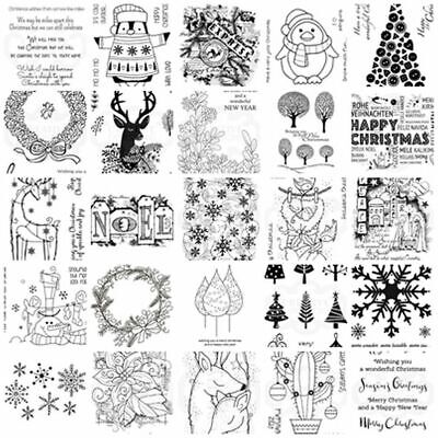 Woodware Clear Stamps - Christmas Festive Reindeer Sentiments Penguin Trees Xmas • 3.95£
