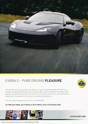 $ CDN6.29 • Buy 2011 2012 Lotus Evora S Original Advertisement Print Art Car Ad J927