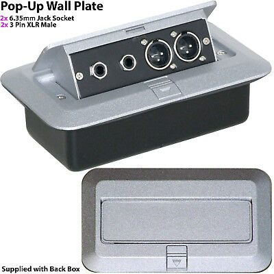 PRO 2 Gang Pop-Up Wall/Floor Plate & Back Box – 2x 6.35mm & Dual XLR Male Outlet • 46.99£