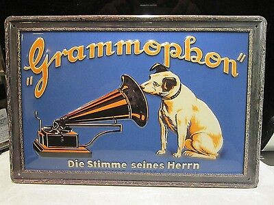 HMV, HIS MASTERS VOICE  :EMBOSSED(3D) METAL ADVERTISING SIGN 30x20cm NIPPER  • 17.99£