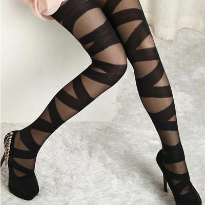 Punk Chic Strappy Mummy Ribbon Wrap Bandage Sheer+Opaque Tights Pantyhose • 2.92£