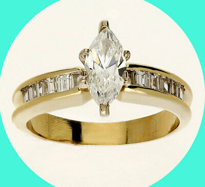 AU2330.37 • Buy 1.42CT H VVS Diamond Engagement Ring 14K Yel/gold Marquise Brill/baguettes 7 3/4
