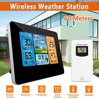 $35.97 • Buy Digital LCD Indoor & Outdoor Weather Station Clock Calendar Thermometer Wireless