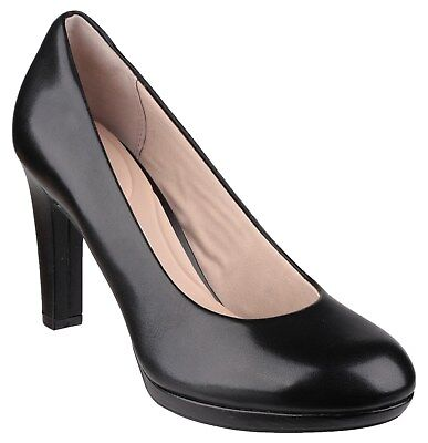 Rockport Seven To 7 Ally Plain Pump Womans Black Leather Ladies Court Shoe • 83.95£