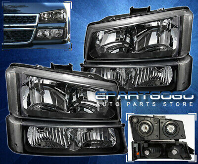 $73.99 • Buy Black Headlights+Clear Reflector Signal Bumper Lamps 4Pc Set For 03-06 Silverado