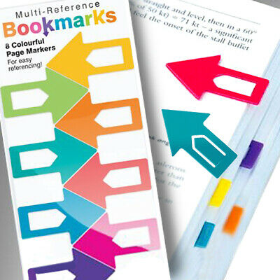 £3.50 • Buy 8 COLOURFUL ARROW BOOKMARK Kids Rainbow Polypropylene Clip Reference Page Marker