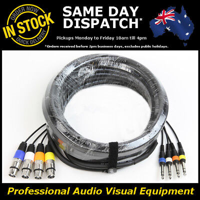 £28.87 • Buy 10-Metre 4-Way XLR Female - 1/4  Multicore Microphone Mic PA Cable Lead Cord 10M