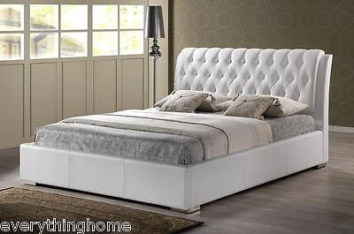 $ CDN926.09 • Buy Queen Or King Modern White Faux Leather Platform Bed Frame Tufted Headboard