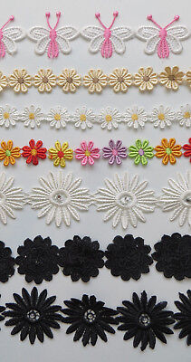 Fabric Craft Embroidery Lace 5 White Sewing Wedding Decor Daisy Applique Flower • 1.99£