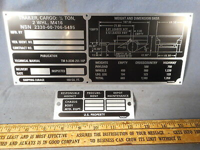 $28.95 • Buy *SPECIAL M416 SET Operational Data Plate Military Trailer M151 M38 M37 M715 M998