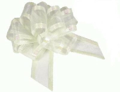 Ivory Organza 50mm Pull Bows Wedding Swags, Pew Ends, Floristry, Gifts • 3.29£