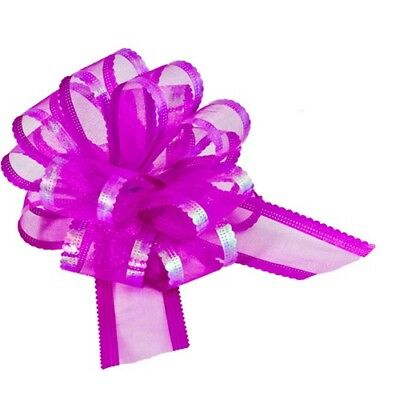 Fuchsia Hot Pink Organza Pull Bows Wedding Swags, Pew Ends, Floristry, Gifts • 3.29£