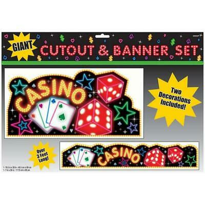 $7.99 • Buy Casino Night Cards Slots Jackpot Dice Roulette Party Decoration Cutout & Banner