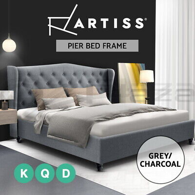 AU249.95 • Buy Artiss Bed Frame Double Queen King Size Base Mattress Platform Fabric Wooden