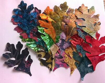 Batik Oak Leaves Fabric Scraps Pack Remnants Patchwork Bundles 100% Cotton • 3.46£