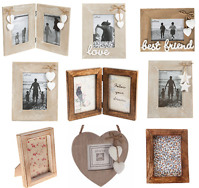 £5.95 • Buy Natural Wood Single Double Triple Photo Picture Frames Home Decoration Gift
