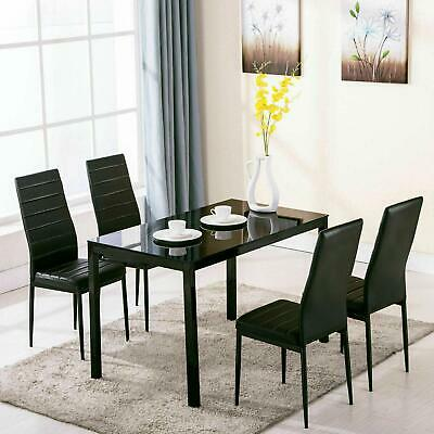 5 Piece Dining Table Set + 4 Chairs Glass Metal Kitchen Room Breakfast Furniture • 145.90$