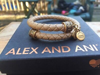 RARE ALEX And ANI VINTAGE 66 Indie Spirit SAND Braided LEATHER Path Of Life WRAP • 49.92£