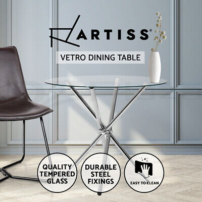 AU99.95 • Buy Artiss Dining Table Round 4 Seater Tempered Glass Tables Chrome Steel Legs 90cm