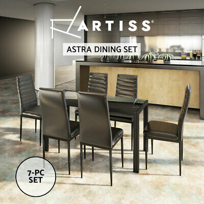 AU309.95 • Buy Artiss 7-pc Dining Table And Chairs Set Glass Tables Leather Seat Chair Black
