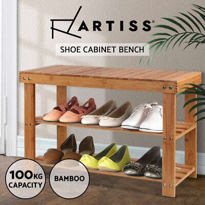 AU34.90 • Buy Artiss Shoe Rack Bamboo Bench 3 Tier Wooden Storage Shelf Stand Shoes Organiser