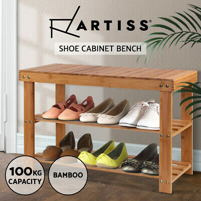 AU40.95 • Buy Artiss Shoe Rack Cabinet Bamboo Bench Wooden Storage Shelf Stand Organiser Stool