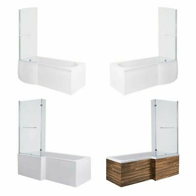 Left Right P & L Shaped Bathroom Shower Bathtub Shower Screen 1500,1675,1700 Mm • 319.97£