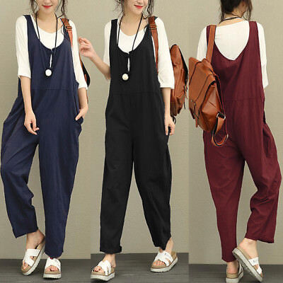 UK Womens Summer Loose Harem Long Playsuit Dungarees Jumpsuit Overalls Plus Size • 8.89£