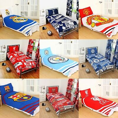 Cotton Blend - NEW FOOTBALL CLUB SINGLE DUVET QUILT COVER SETS BOYS KIDS BEDROOM • 21.95£