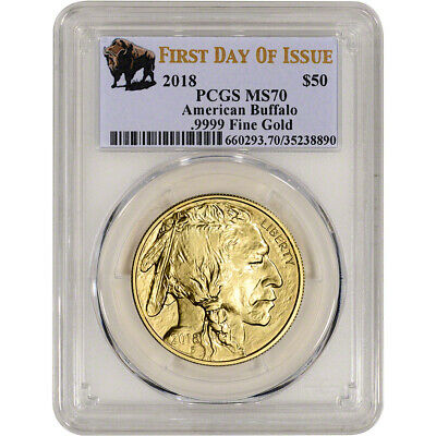 $1967.38 • Buy 2018 American Gold Buffalo (1 Oz) $50 - PCGS MS70 First Day Issue Buffalo Label