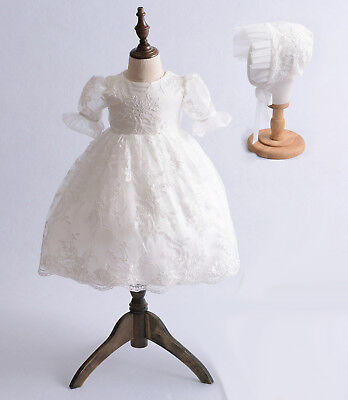 £25.99 • Buy Baby Lace Christening Gown Party Dress And Bonnet 0 3 6 12 18 24 Months