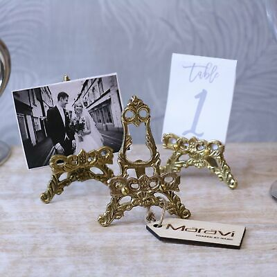 Saramati Set Of 3 Mini Antique Easels Gold Brass Detailing Wedding Table Gift • 20.99£