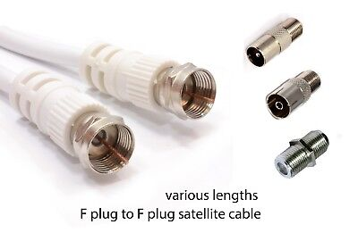 F To F Satellite Freesat Virgin TV Aerial Cable Coax Lead Extend Wire Connectors • 4.19£