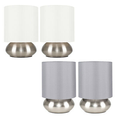 £14.99 • Buy Pair Of Metal Table Lamps Brushed Chrome Touch Dimmer Bedside/Lounge Table Lamps