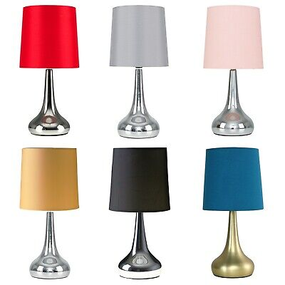 £19.99 • Buy Pair Of Modern Touch Dimmer Bedside Lounge Table Lamps LED Light Bulb Chrome