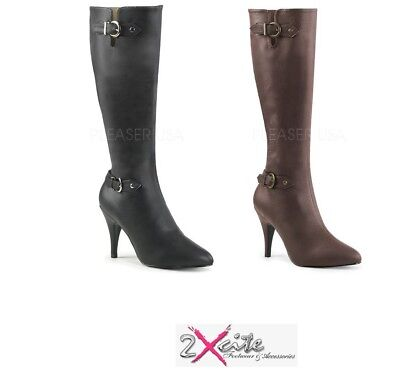 £86.40 • Buy Pleaser Dream 2030 Pink Label 4  High Heel Pointed Buckle Knee Boots Sizes 6-14