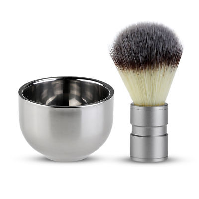 Badger Hair Shaving Brush & Stainless Steel Bowl Set Men's Grooming Fathers Day • 7.99£