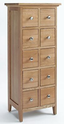 Oak CD DVD Media Storage Tower | Wooden Holder/Stand/Unit/Rack With 10 Drawers • 199.99£