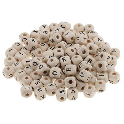 £4.06 • Buy 100x White Wooden Alphabet Letters Loose Cube Beads For Beading Crafts 10mm